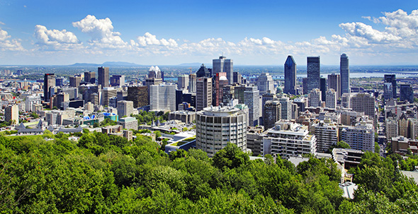 "A view overlooking the city from atop the hill or ""small mountain� in the center of the city of Montreal.  Mount Royal, after which the city itself was named, is part of the Monteregian Hills situated between the Laurentians and the Appalachian Mountains."